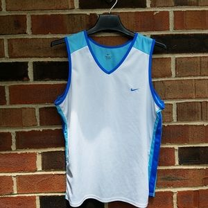 Nike white and blue tank top